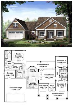 COOL House Plan ID: chp-42920 | Total living area: 1619 sq ft, 3 bedrooms & 2 bathrooms. #craftsman #homeplan