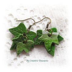 Ivy Leaf Polymer Clay Earrings #followprettypearlsinc