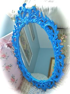 Vintage Ornate French Barbola Style Electric Blue Wall mirror via Etsy.