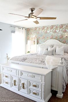 In love with this gorgeous Master Bedroom Makeover. This shabby chic bedroom is lovely and elegant! Click for more details