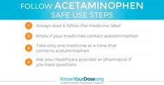 When you see acetaminophen on an over-the- counter or  prescription medicine label, remember these 4 key safe use  steps: http://bit.ly/KYD-facts