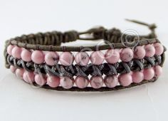 Trendy leren single armband met roze Turquoise