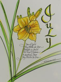 """Star of Gold, calligraphy watercolor poem, 8""""x11"""", 2014, V. Atkinson."""