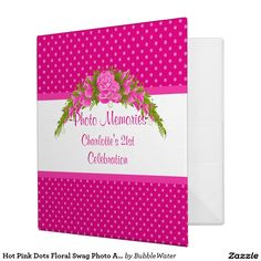 Hot Pink Dots Floral Swag Photo Album 3 Ring Binders