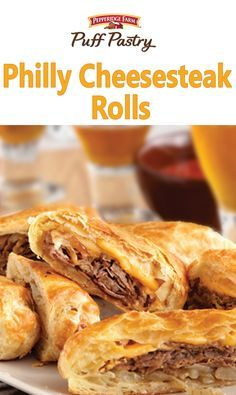 Puff Pastry Philly Cheesesteak Rolls Recipe. These upscale cheesesteak sandwiches feature flaky puff pastry instead of ordinary rolls.  They're easy to make, and even easier to enjoy!