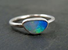 Boulder opal ring / October birthstone / opal ring / opal jewelry / Australian opal ring / rainbow opal / ready to ship by EmmyBean on Etsy