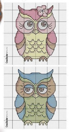 Free counted cross stitch owls - Google Search