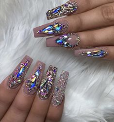Jan 2020 - coffin nails rhinestone, bling coffin nails, pink coffin nails, acrylics nails c. Nail Designs Bling, Nails Design With Rhinestones, Acrylic Nail Designs, Ongles Bling Bling, Rhinestone Nails, Pink Bling Nails, Pastel Nails, Pink Coffin, Coffin Nails Long