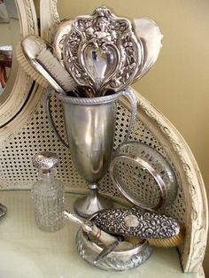 antique silver hair sets - my mammaw had one