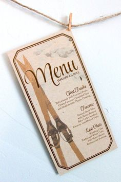 Personalized Winter Menu Card / Rustic Mountain Wedding / Vintage Skis / Natural, Rustic Personalized Winter Menu Card / Rustic Mountain Wedding / Vintage Skis / Natural, Rustic by on Etsy www. Ski Wedding, Wedding Menu, Wedding Stationary, Trendy Wedding, Wedding Table, Wedding Cards, Rustic Wedding, Wedding Planning, Wedding Invitations