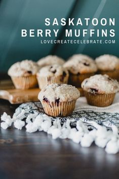 The best Saskatoon Berry Muffins you will ever bake! Your guests and family members will be begging for more after you bake this muffin recipe! Use the seasonal saskatoon berries to make these delicious muffins with a crumb topping! Saskatoon Recipes, Saskatoon Berry Recipe, Easy Appetizer Recipes, Snack Recipes, Dessert Recipes, Muffin Recipes, Cookie Recipes, Berry Muffins, How Sweet Eats