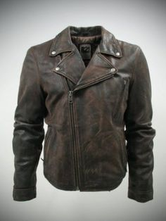 IL2L Men's Vintage Look Brown Asymmetric Leather Biker Jacket: Amazon.co.uk: Clothing