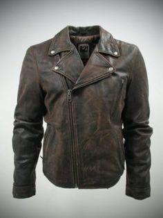 IL2L Men's Vintage Look Brown Asymmetric Leather Biker Jacket: Amazon.co.uk: Clothing