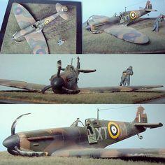 """Battle of Britain"" Spitfire Mk. I. 1/48 Tamiya. Modeler Anders Isaksson #scalemodel #plastimodelismo #scalemodelkit #miniatura #miniatur #miniature #hobby #diorama #britain #plastickits #usinadoskits #udk"