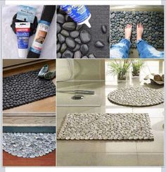 DIY rock mat. You can purchase everything at Home Depot: The river rocks are in the garden department, the glue is in the paint department, and the grip liner mat is in the flooring department.