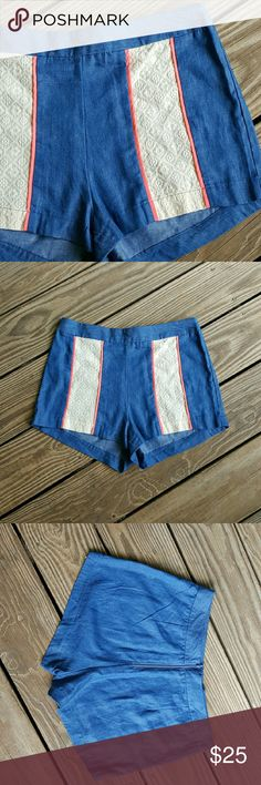 Boutique shorts. Sooooooooo cute!!!  Blue denim like color, cream colored lace panel on each side. Zips up back. Size medium. 15 inches waist. 2 inch inseam. Flying Tomato Shorts