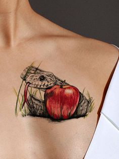 This highly detailed 3D tattoo is available as both a black and a color tattoo. The apple and snake tattoo represents the struggle between good and evil. Use as an awesome leg or arm tattoo, a shoulde