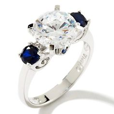 3.55ct Absolute™ Round and Created Sapphire Sides 3-Stone Ring at HSN.com.