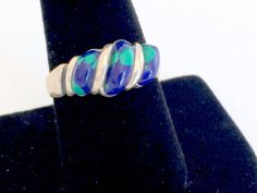 Silver and Azurite Ring Blue and Green Vintage by VintageRenude