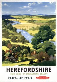 Poster produced by British Railways (BR) to promote train services to Herefordshire. Artwork by A J Wilson Print Framed, Poster, Canvas Prints, Puzzles, Photo Gifts and Wall Art Posters Uk, Train Posters, Railway Posters, Poster Ads, Advertising Poster, Vintage Travel Posters, Poster Prints, Vintage Ski, Art Prints