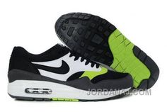 100% authentic b4c07 57cc6 Best Nike Air Max 1 Mens Shoes Black Anthracite Fluorescent-Green White