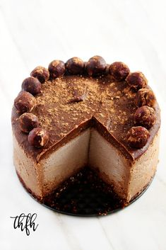 Vegan Chocolate Peanut Butter No-Bake Cheesecake...a healthy recipe that's vegan, gluten-free, dairy-free, egg-free, soy-free, no-bake and no refined sugar