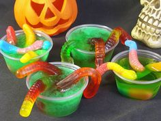 Bugs and other creepy crawlies can find their way into your Jell-O shots. Gummy worms are the best because you can drape them over the edge of the cup so they look like they're crawling out, but yo...