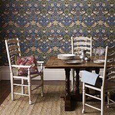 Strawberry Thief is one of William Morris most famous designs for fabric and was originally indigo discharge printed at Merton Abbey. Morris was inspired to design Strawberry Thief after watching thru William Morris Wallpaper, Morris Wallpapers, Floral Wallpapers, Print Wallpaper, Fabric Wallpaper, Pattern Wallpaper, Wallpaper Designs, Liberty Wallpaper, Decoration