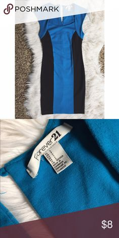 ✨Forever 21✨ Blue Black Colorblock Bodycon Dress Great forever 21 dress turquoise and black! Pictures look more royal blue but it is in fact turquoise! Great condition other than missing Button on top but one can easily be sewn on! Price reflects! Feel free to ask any questions or make an offer 😘 Forever 21 Dresses Mini