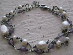 Wisteria Bracelet Freshwater Pearls Amethyst Double by jewelsbyn, $27.00