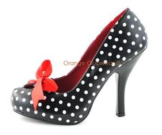 PINUP Sexy Polka Dot High Heels Rockabilly Style Platform Retro Style