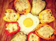 Πιπεριές γεμιστές με κοτόπουλο και τυριά Eggs, Cooking, Breakfast, Food, Kitchen, Morning Coffee, Essen, Egg, Meals