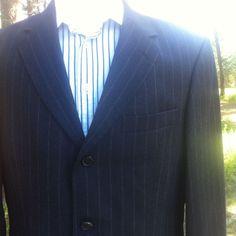 2c3bb40f9 HUGO BOSS Wool Cashmere Suit 40R - 34x31 Navy Blue Stripe BORGOSESIA  EXCELLENT #HUGOBOSS #MENSWEAR #Suit #Ebaydeals