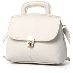 Metallic Hasp Solid Color Tote Bag White (£22) ❤ liked on Polyvore featuring bags, handbags, tote bags, metallic tote bag, tote hand bags, tote bag purse, metallic handbags and white tote bag