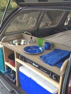 Minivan Camper Conversion, Suv Camper, Mini Camper, Camper Life, Camper Trailers, Travel Trailers, Van Conversion Interior, Van Interior, Conversion Van