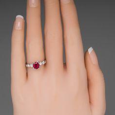 Platinum Vintage Ruby Engagement Ring w/ Diamonds