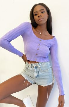 Ain't no basic in the Lady Crawley Long Sleeve Knit in Lilac. Wear it all week long in your fave denim shorts and sneakers.    Lilac long sleeve knit top  Scoop neckline  Frill hems  5x fake buttons down the center front  The stretchy, ribbed fabric fits tight to the body Girly Girl Outfits, Teen Fashion Outfits, Retro Outfits, Cute Casual Outfits, Fall Outfits, Girl Fashion, Teen Girl Clothes, Fashion Clothes, Look Short