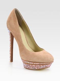 B Brian Atwood crystal-coated suede platform pumps