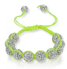Neon Green Shamballa with white crystal pave'