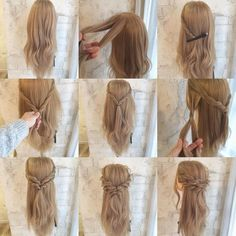 Arrange commentary 2 arrange Divide the upper half of the side into two halves a… - DIY Frisuren lang Wedding Hair And Makeup, Bridal Hair, Hair Makeup, Pretty Hairstyles, Braided Hairstyles, Boho Hairstyles Medium, Semi Formal Hairstyles, Prom Hairstyles, Medium Hair Styles