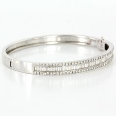 Vintage 14 Karat White Gold Diamond Bangle Bracelet