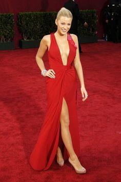 Blake Lively. Red dress, red carpet