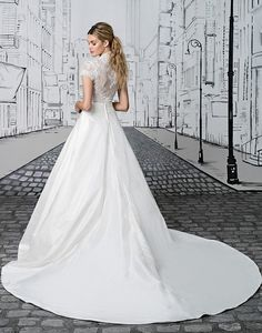 9576e28894 Justin Alexander Lace Bodice with Short Sleeves and Silk Floor Length Ball  Gown Skirt