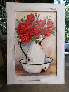 By Wilma Potgieter African Art Paintings, Girls With Flowers, Flower Art, Red Roses, Succulents, Art Floral, Succulent Plants