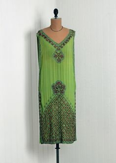 1920's Antique Vintage Sage-Green Beaded Silk-Chiffon French Designer-Couture Flapper Drop-Waist Goddess Art-Deco Shift Cocktail Party Dress