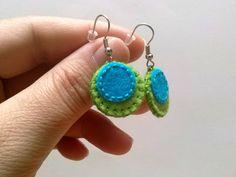 Felt Earrings – Felt earrings - Green and Blue small retro dangle – a unique product by dusi-ustvarja on DaWanda