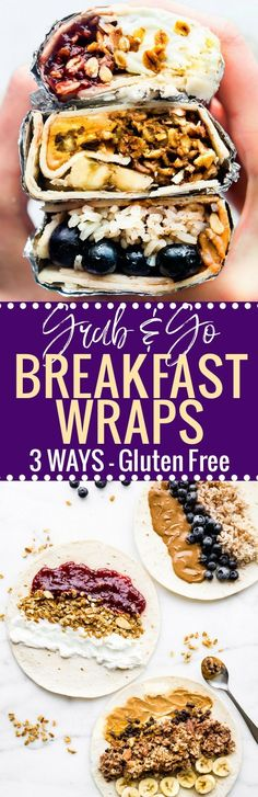 These sweet Gluten Free breakfast wraps are the perfect grab and go breakfast! Portable, freezer friendly, and filled with wholesome simple ingredients! Literally a healthy breakfast bowl wrapped up to go, 3 ways!