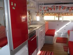 Inspiration for my soon to been Red, white, and black glamper!   My Glamp Trailer! All done except the table.