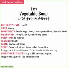 Easy vegetable soup with ground beef combines tender vegetables and savory ground beef in a flavorful broth to get mouthwatering hamburger soup, packed with protein, vitamins, and minerals. Easy Vegetable Beef Soup, Quick Meals To Make, Soup With Ground Beef, Black Bean Soup, Minced Onion, Frozen Vegetables, Saute Onions, Cafe Food, Rezepte