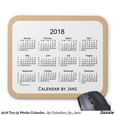 2018 Tan 52 Weeks Calendar by Janz Mouse Pad
